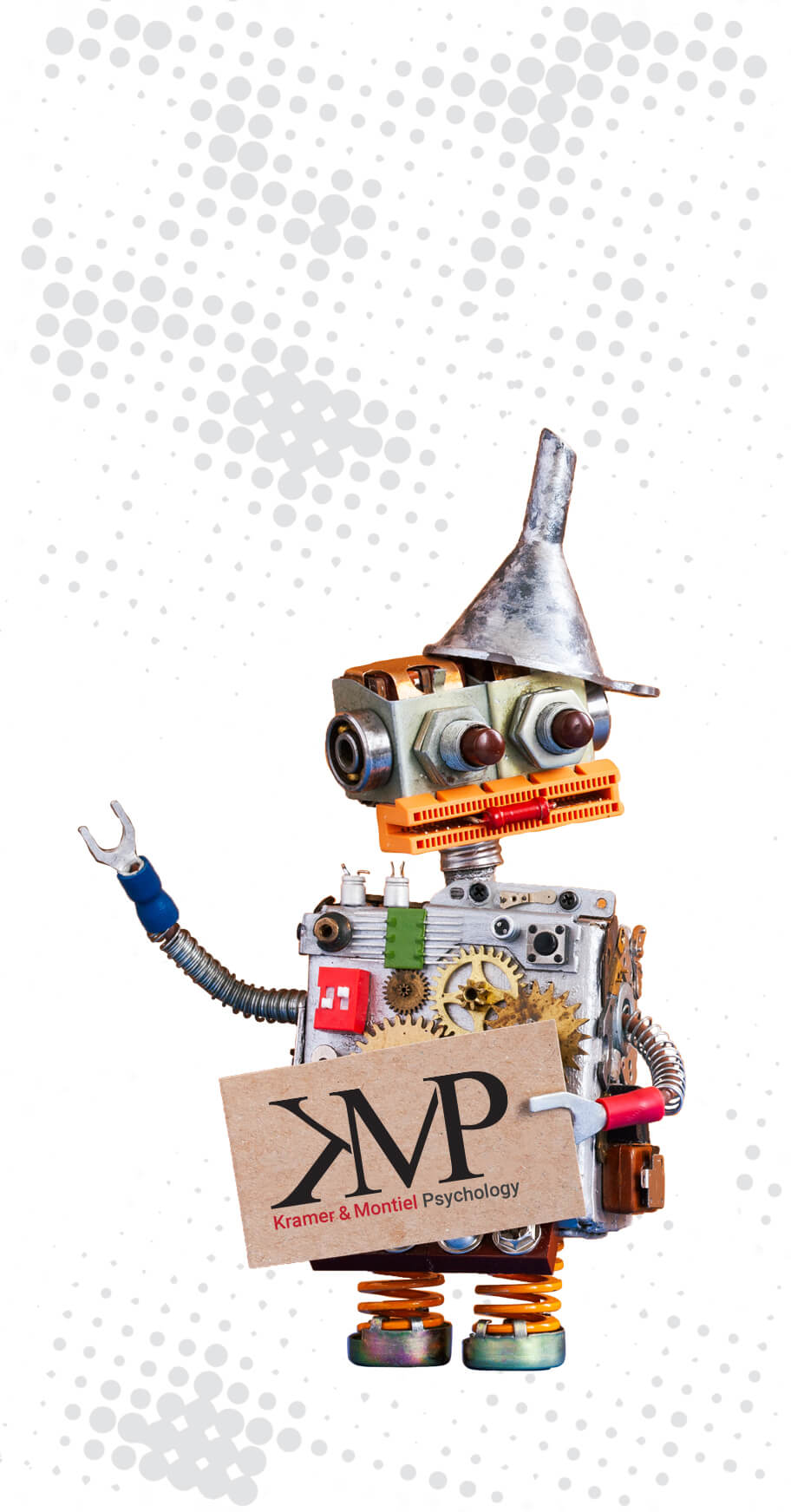 robot holding KMP logo