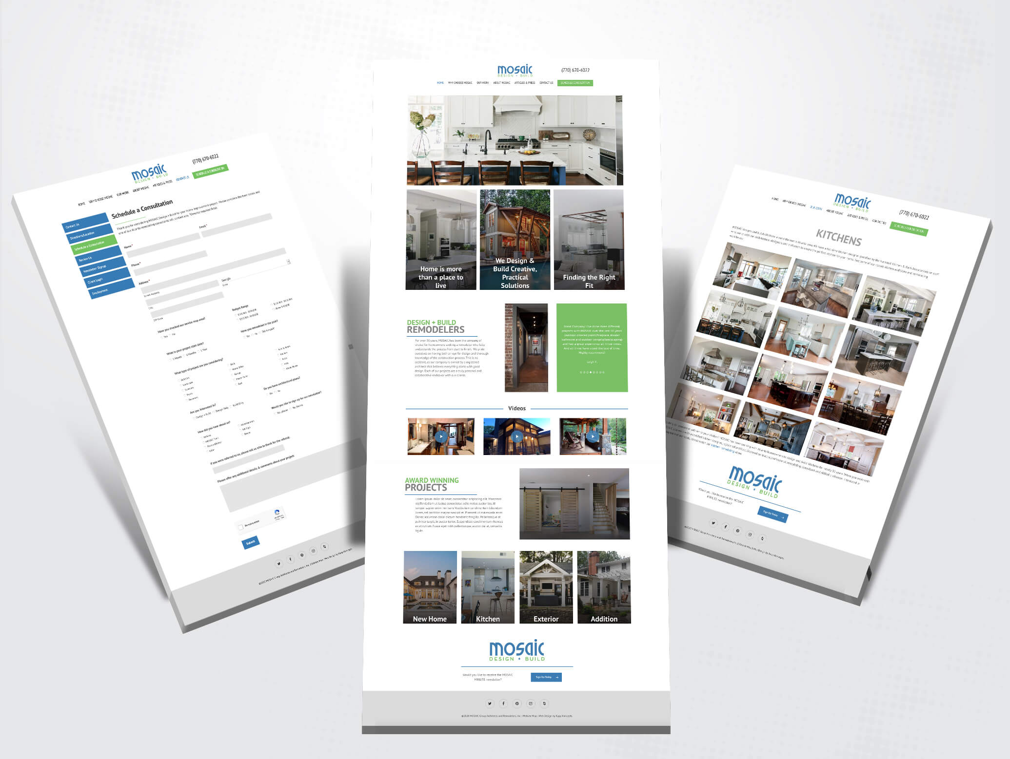 mosaic design + build website design images